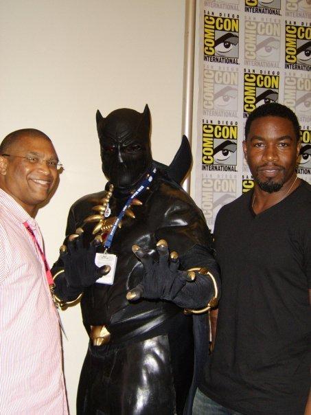 Eddie Newsome as Black Panther with Reginald Hudlin and Michael Jai White