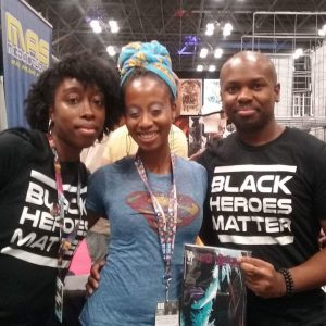 BlackSci-Fi.com contributing writer/ comic book creator Takeia Marie, comic book creator Regine Sawyer (Eating Vampires), You Tube Podcaster (Off The Shelf) Antonio Pomares representing Black Heroes Matter at New York Comic Con 2016. Photo credit Antonio Pomares.