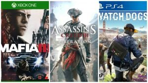 Mafia III, Assassins Creed III, Watch Dogs